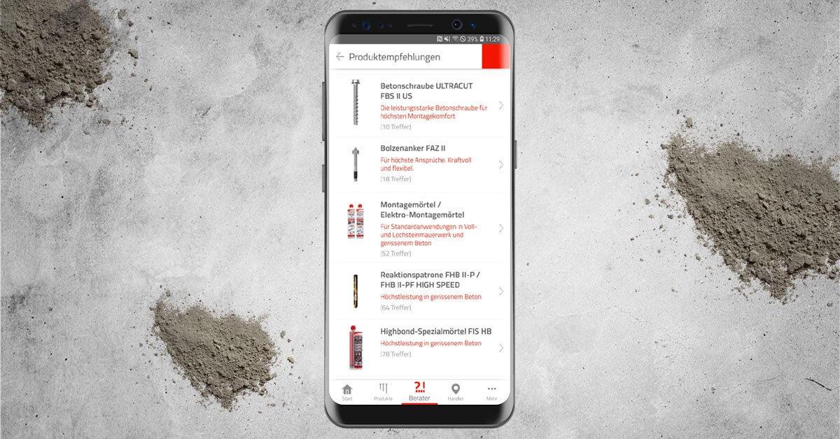 Die Handwerker-App hat immer die passende Produktempfehlung.