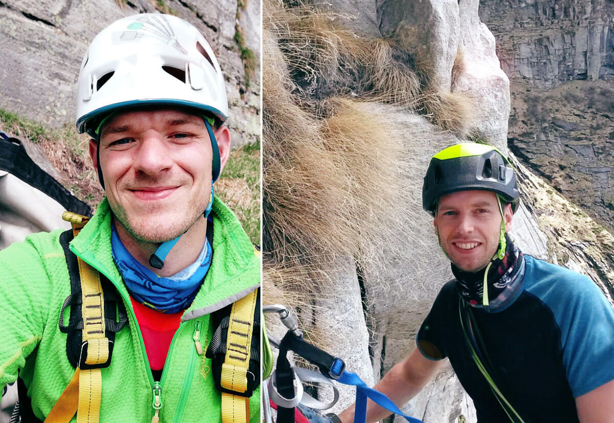 Zwei Kletterer am Poncione d'Alnasca.
