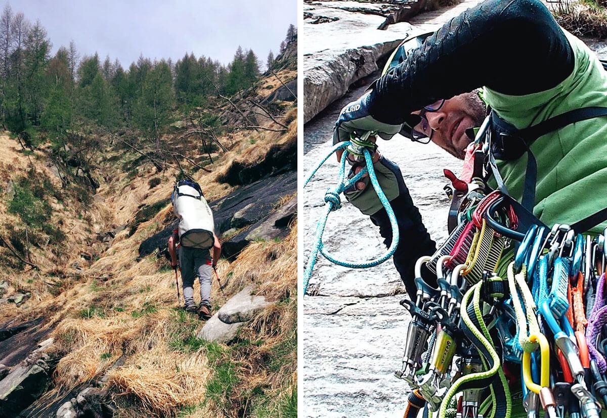 Der steile Zustieg zum Poncione d'Alnasca. (Bild links) Erschöpft machen die Kletterer eine Pause. (Bild rechts)