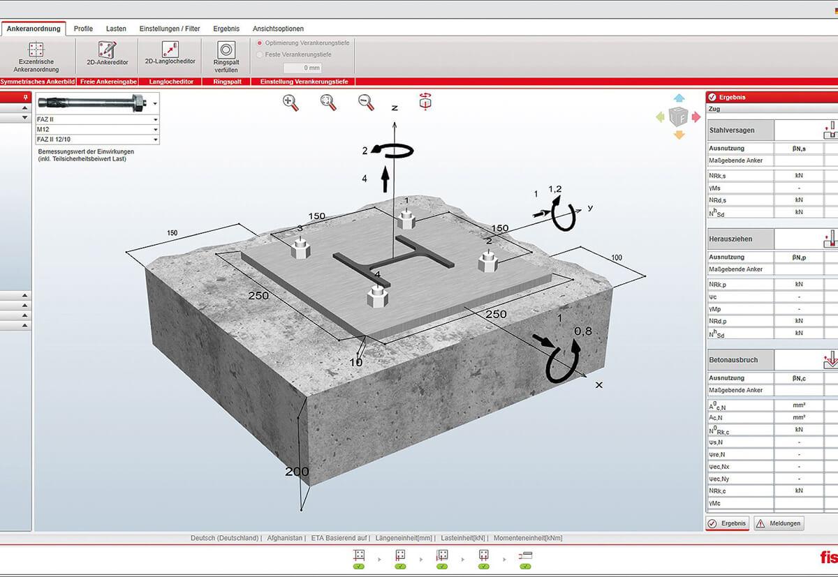 Bemessen eines Ankers in Stahlbeton mit dem Modul C-FIX von fischer.