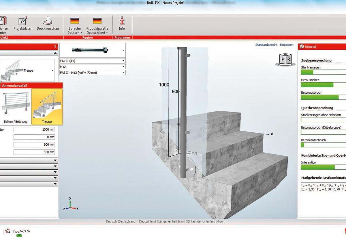 Bemessen der Verankerungen für ein Treppengeländer.