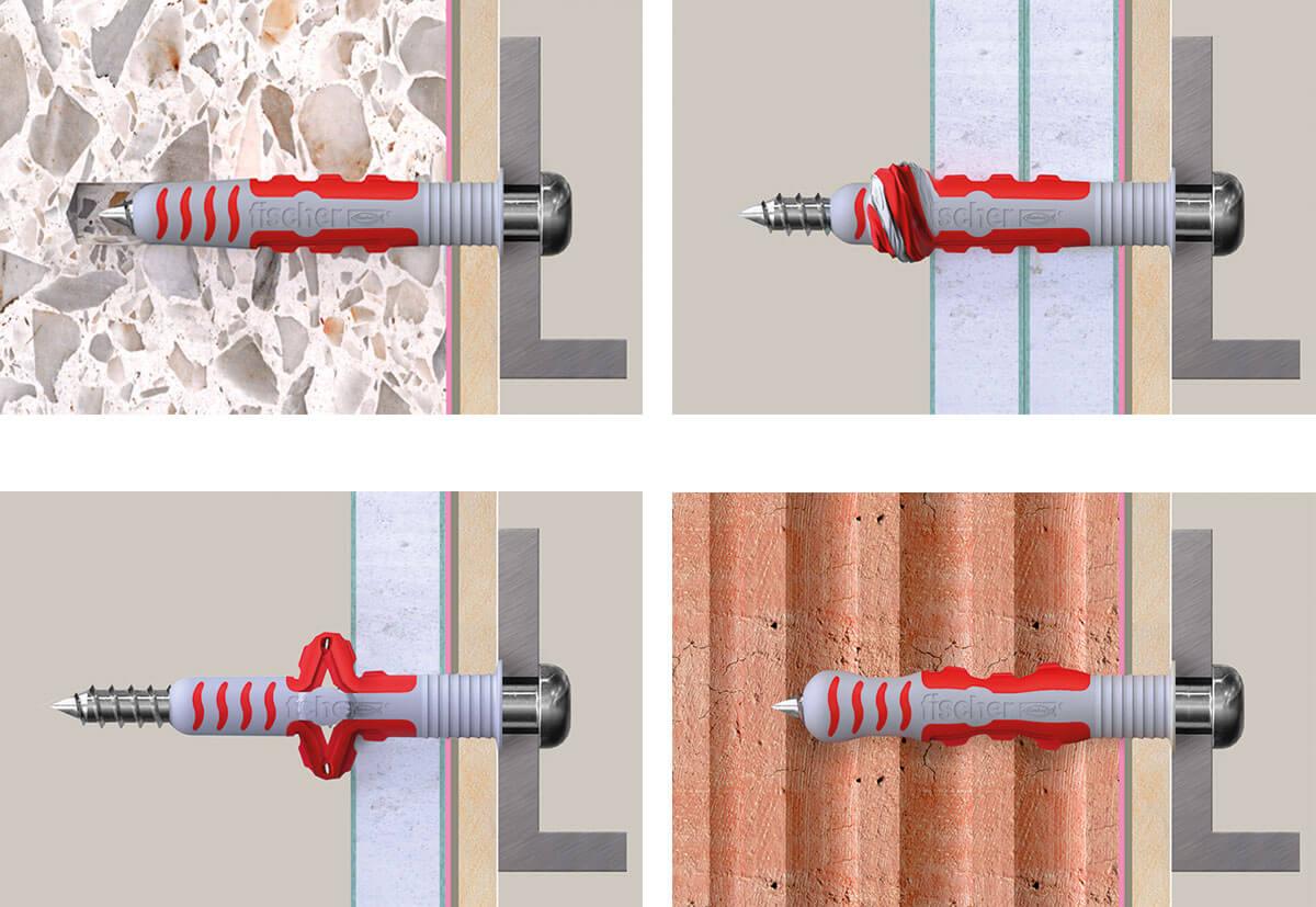DuoSeal-Dübel mit dazugehöriger Schraube bei der Anwendung in verschiedenen Baustoffen im Querschnitt.