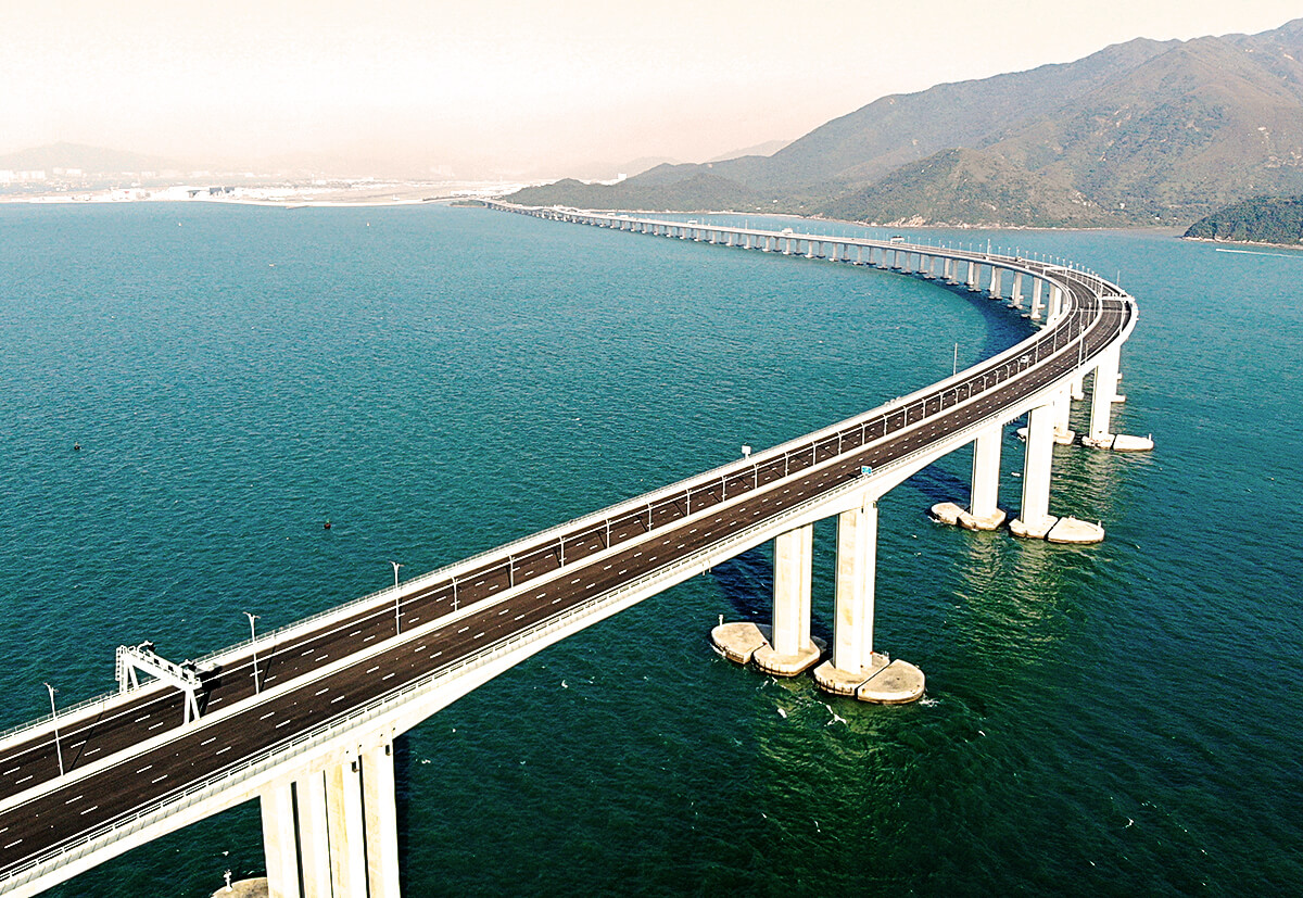 The Hong Kong–Zhuhai–Macau Bridge spans a 55-kilometre river delta.