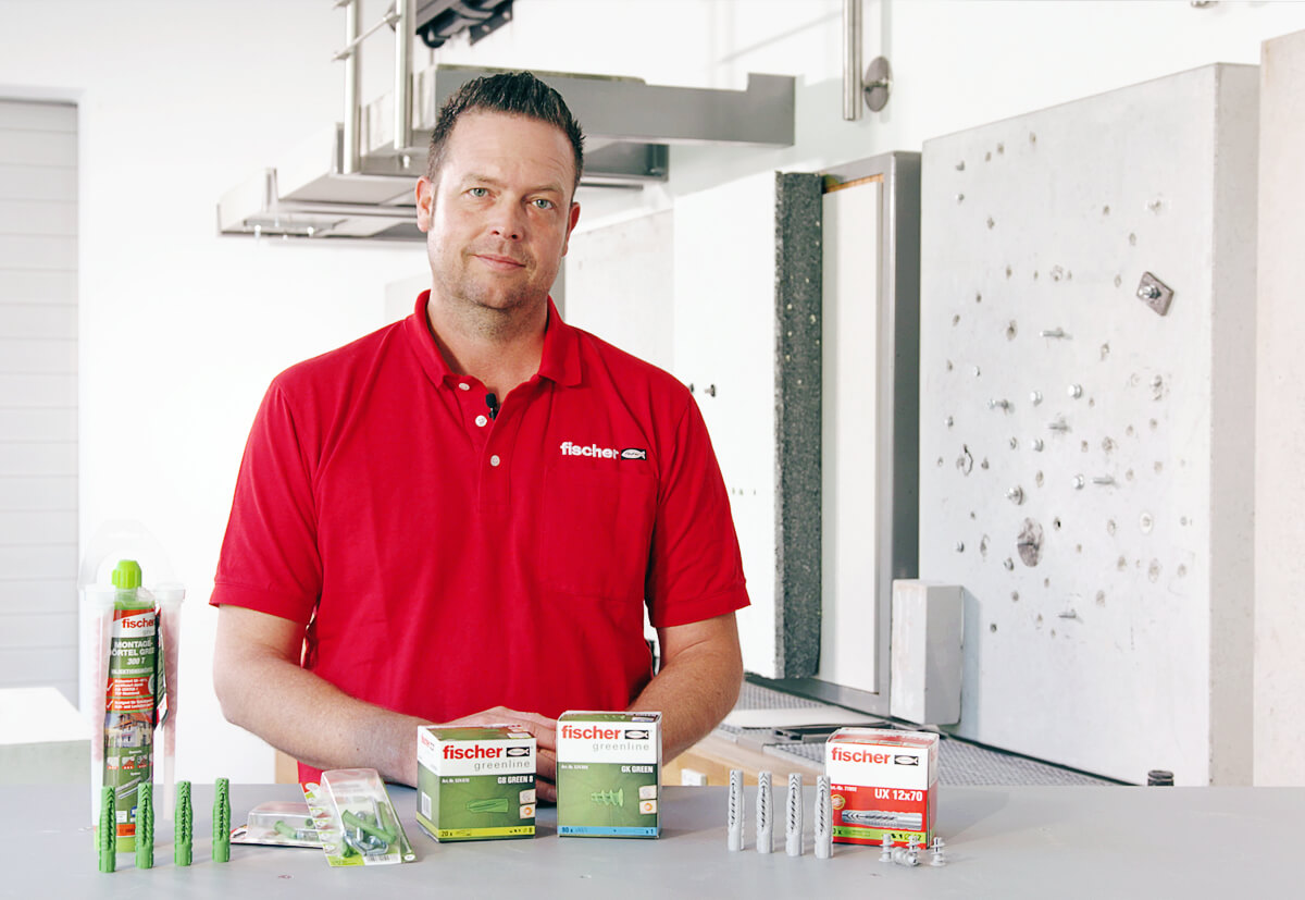 The diverse range of products in the fischer greenline range, the world's first fixing product made primarily of renewable resources.