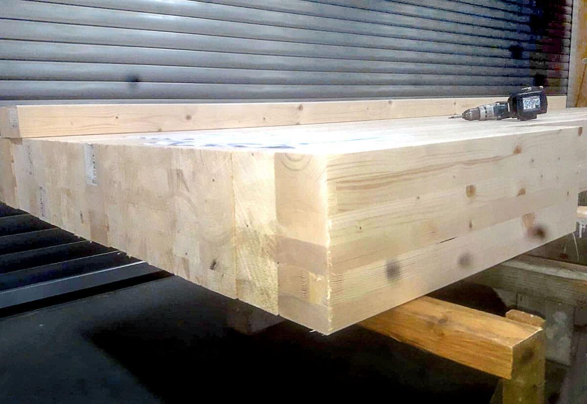 glue-laminated timber in a garage